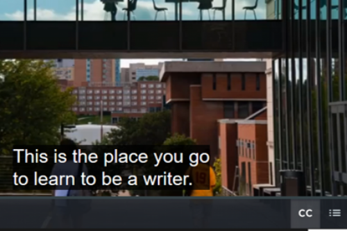 "Screenshot of a UI promotional video. Captions say, ""This is the place you go to learn to be a writer."""