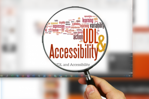 "A hand holding a magnifying glass focuses on the phrase ""UDL and Accessibility"""
