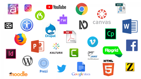 Icons for numerous course technologies